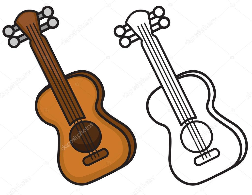 Imágenes: guitarra para colorear | Guitarra color y blanco y negro