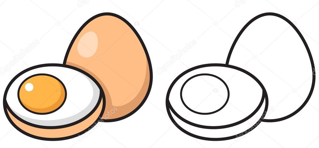 Animado Un Huevo Para Colorear Huevo Color Y Blanco Y Negro Para