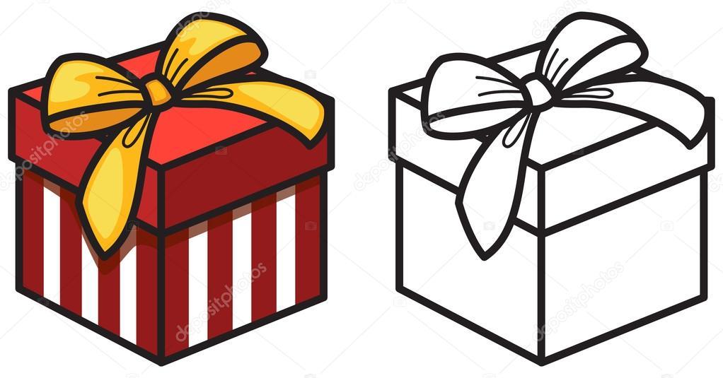 caja de regalo colores y blanco y negro para colorear libro — Vector ...