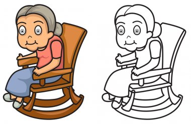 colorful and black and white grandmother for coloring book