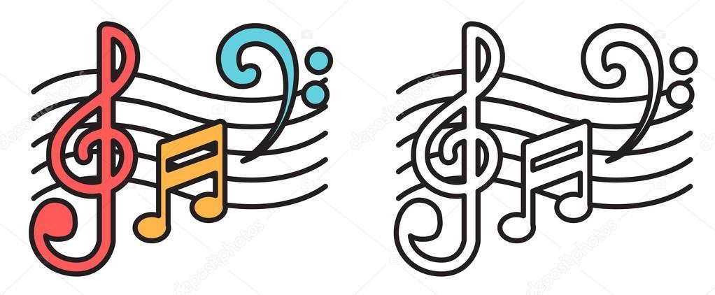 Excepcional Notas de música colorido e preto e branco para colorir livro  PA64