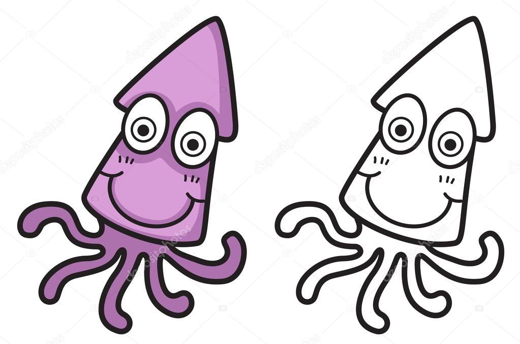 pulpo color y blanco y negro para colorear libro — Vector de stock ...