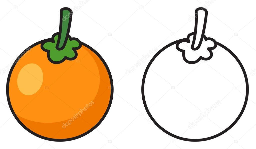 Boyama Kitabı Için Renkli Ve Siyah Beyaz Portakal Stok Vektör