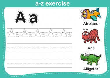 Alphabet a-z exercise with cartoon vocabulary illustration