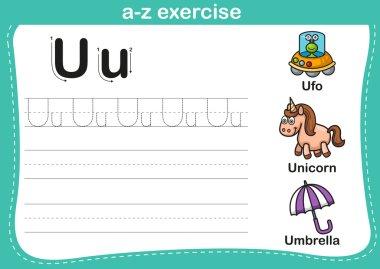 Alphabet a-z exercise with cartoon vocabulary illustration