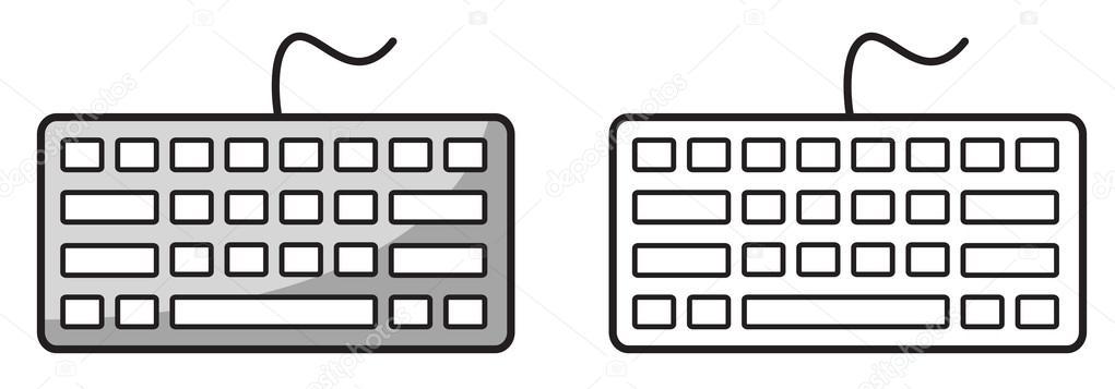 teclado color y blanco y negro para colorear libro — Vector de stock ...