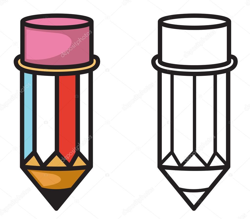 lápiz de color y blanco y negro para colorear libro — Archivo ...