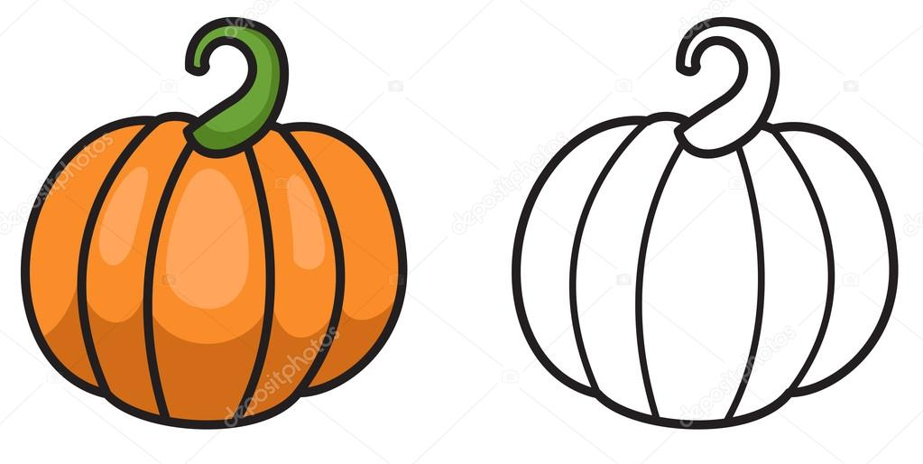 colorful and black and white pumpkin for coloring book stock