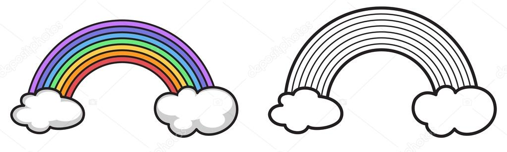 arco iris color y blanco y negro para colorear libro — Vector de ...