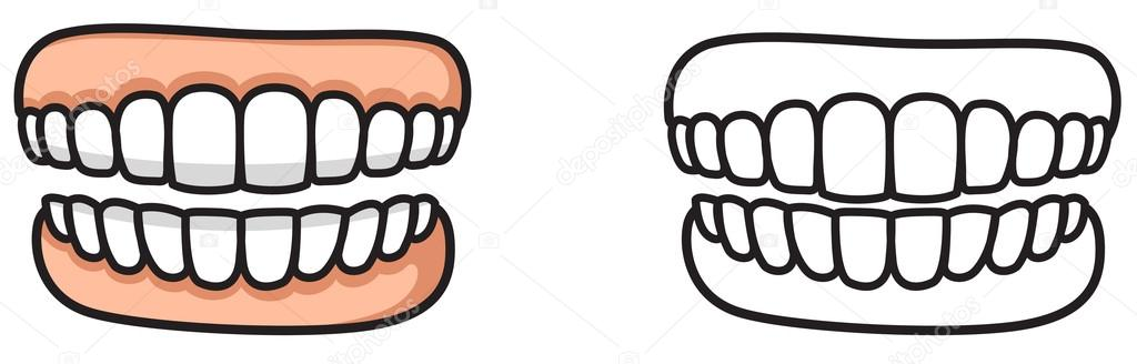 Boyama Kitabı Için Renkli Ve Siyah Beyaz Diş Stok Vektör