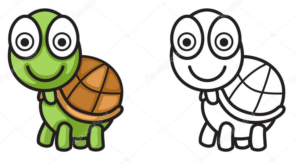 Renkli Ve Siyah Beyaz Kaplumbağa Boyama Kitabı Için Stok Vektör