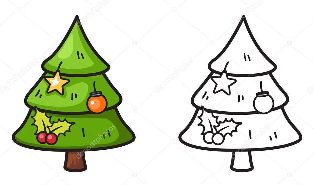árbol de Navidad de colores y blanco y negro para colorear libro ...
