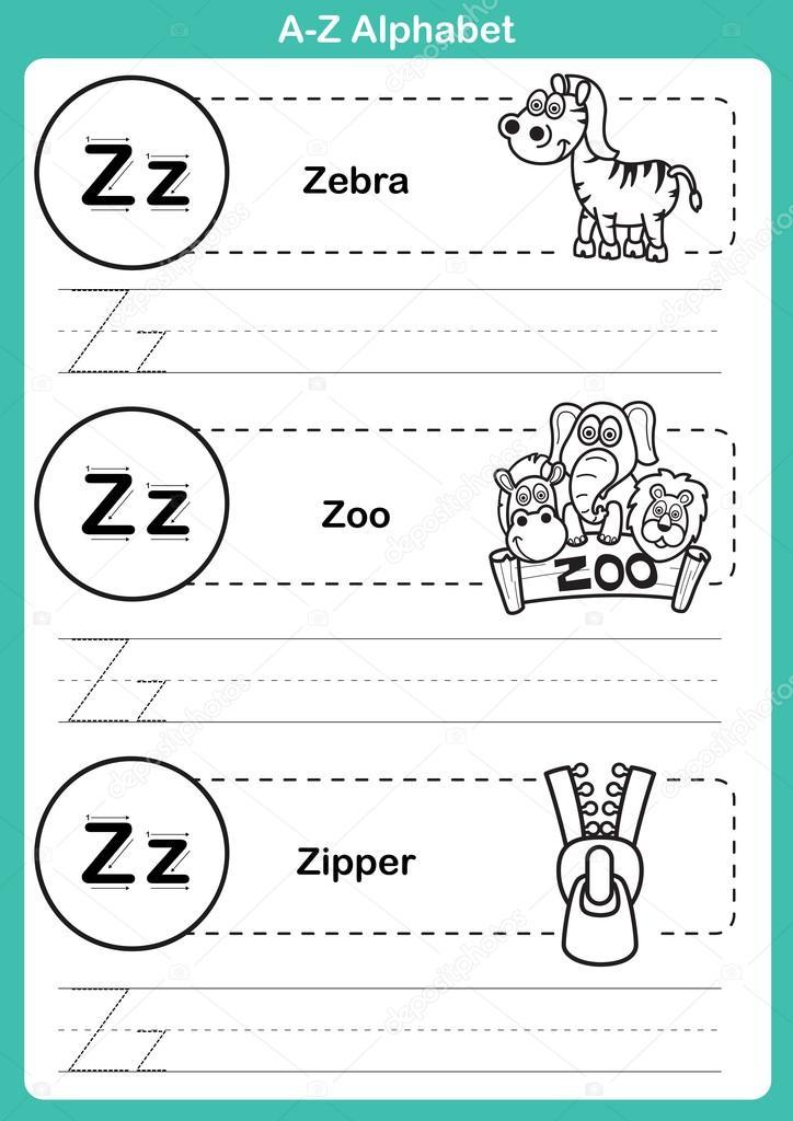 Ejercicio de a-z del alfabeto con vocabulario de dibujos animados ...