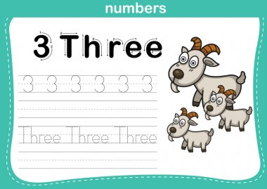 Connecting dot and printable numbers exercise with lovely cartoon