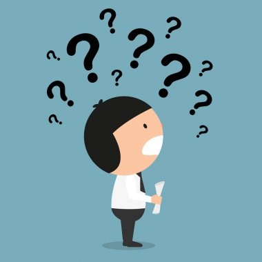 business thinking with question marks