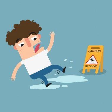wet floor caution sign.Danger of slipping isolated illustration