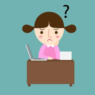 girl thinking with question marks vector