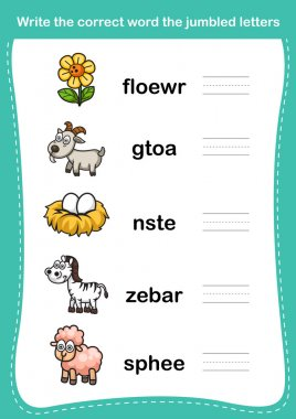 Write the correct word the jumbled letters