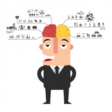 businessman with left and right brain functions icon