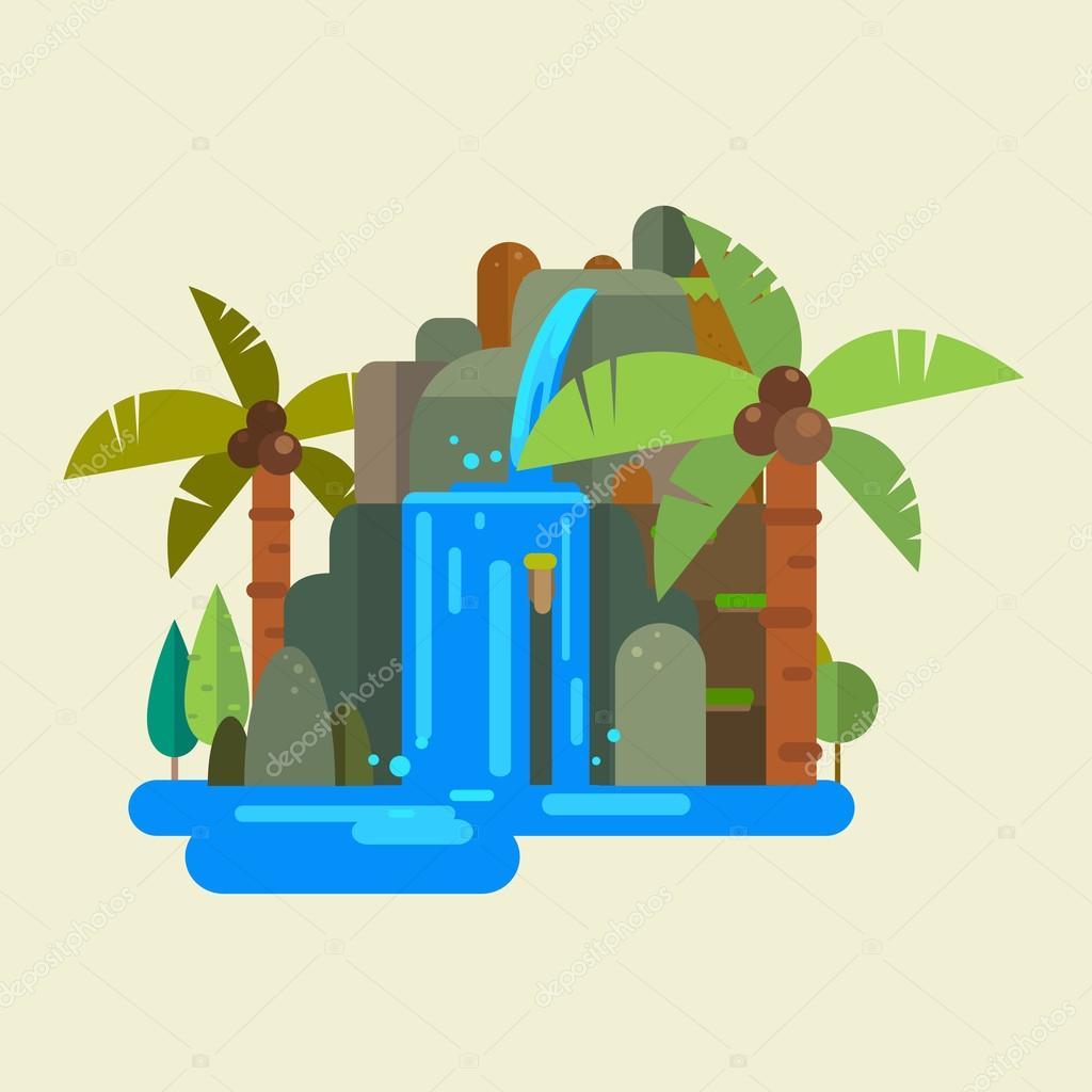 waterfall vector symbol