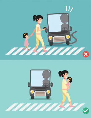 watch your step.women with child on the crosswalk