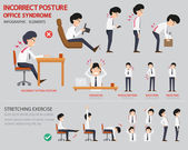 Photo Incorrect posture and office syndrome infographic