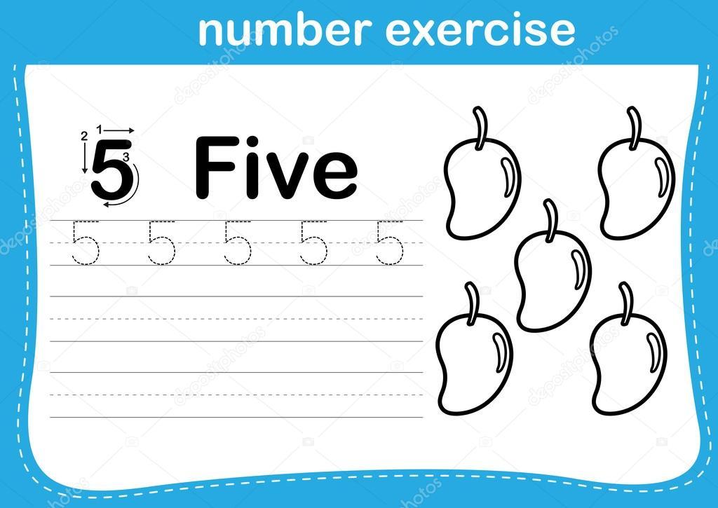 ejercicio número con dibujos animados para colorear la ilustración ...