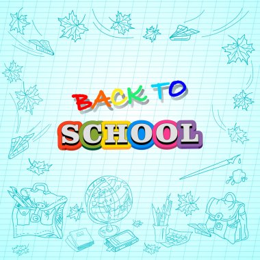 exercise book with the inscription back to school and school supplies