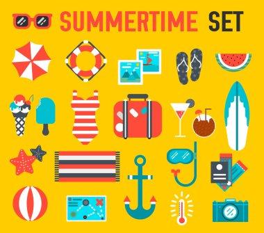 Summer icon flat illustration background design