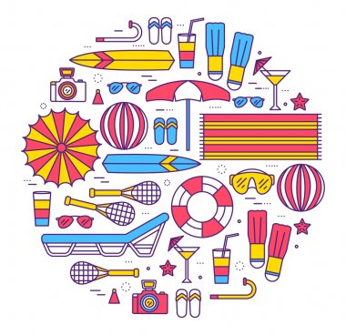 Summer vacation circle concept in thin lines style design. Beach umbrella, lifebuoy, diving, equipment, towel, ocean, supplies, landscape concept