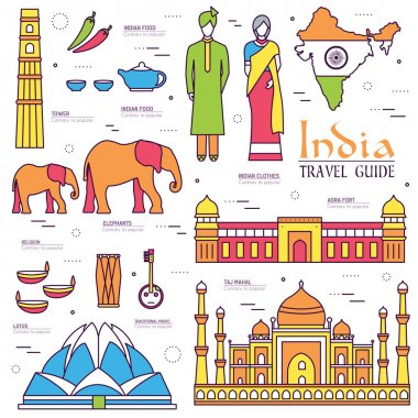Country India travel vacation guide of goods, places and features. Set of architecture, fashion, people, items, nature background concept