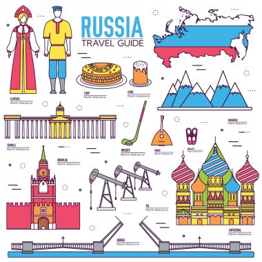 Country Russia travel vacation guide of goods, places and features. Set of architecture, people, culture, icons background concept. Infographics template design for web and mobile
