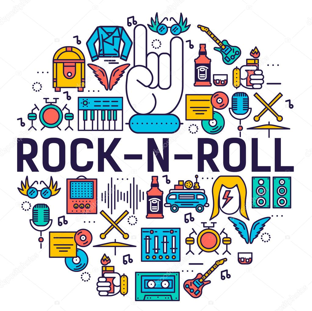Rock n roll circle outline icons collection set music equipment rock n roll circle outline icons collection set music equipment linear symbol pack modern buycottarizona
