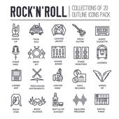 ROCK N ROLL circle outline icons collection set.  Music equipment linear symbol pack. Modern template of thin line icons, logo, symbols, pictogram and flat