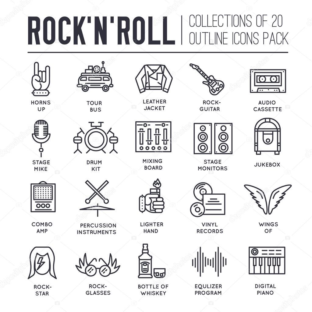 Rock n roll circle outline icons collection set music equipment rock n roll circle outline icons collection set music equipment linear symbol pack modern biocorpaavc Gallery