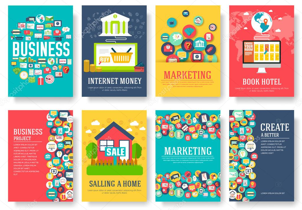 Book Cover Illustration Rates : Business elements cards set marketing template of flyear