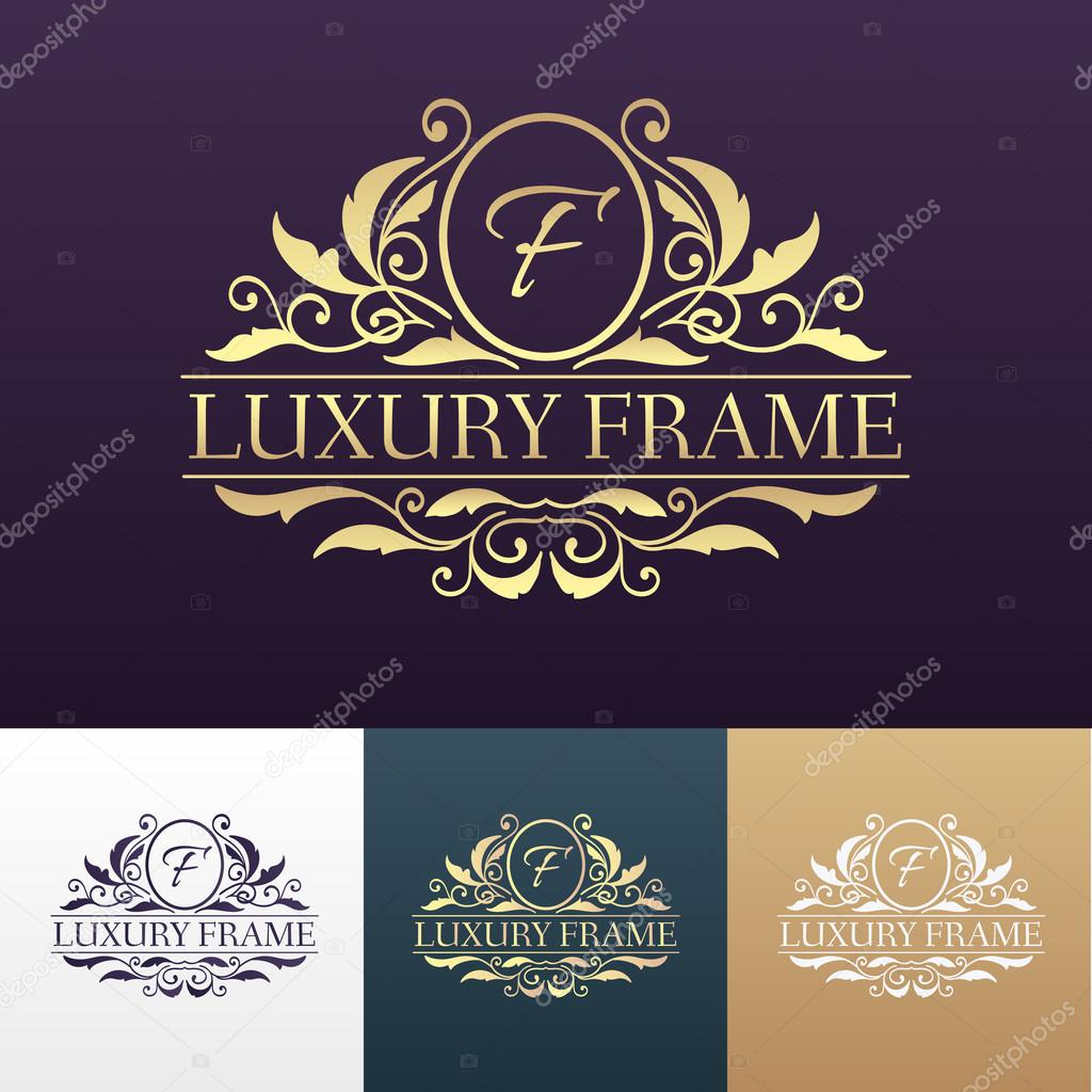 Luxury label or King place symbol element with decorative calligraphy object set. Template for classical card, invitation, identity cover design, packaging, hipster stamp. Vector illustration