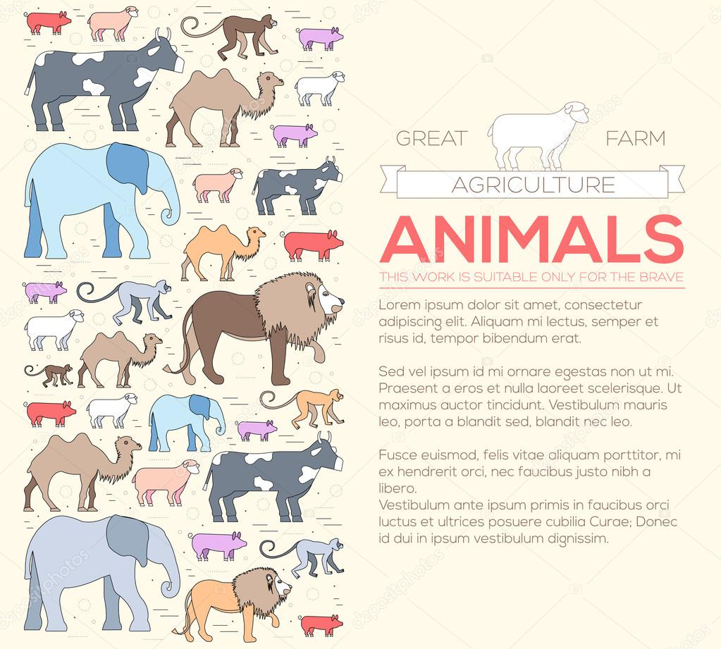 animal  concept of lion, monkey, monkey, camel, elephant, cow, pig, sheep. Vector illustration background with ottoman motif  traditional background . Thin lines outline flat style