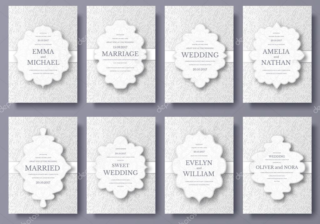 Set of wedding card flyer pages ornament illustration concept. Vintage art traditional, Islam, arabic, indian, ottoman motifs, elements.