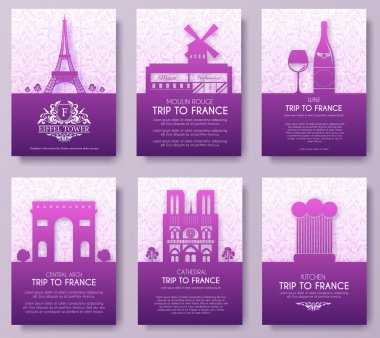 Set of France country ornament illustration concept. Art traditional, poster, book, poster, abstract, ottoman motifs, element. Vector decorative ethnic greeting card or invitation  design