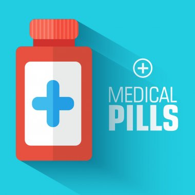 Flat medical bottle with pills