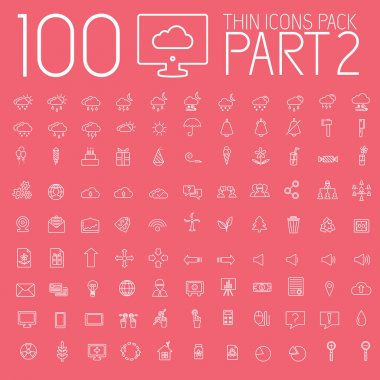 Set 100 thin lines icons pictogram