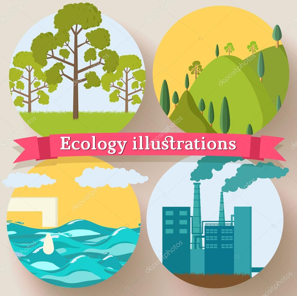 Flat design of ecology backgrounds