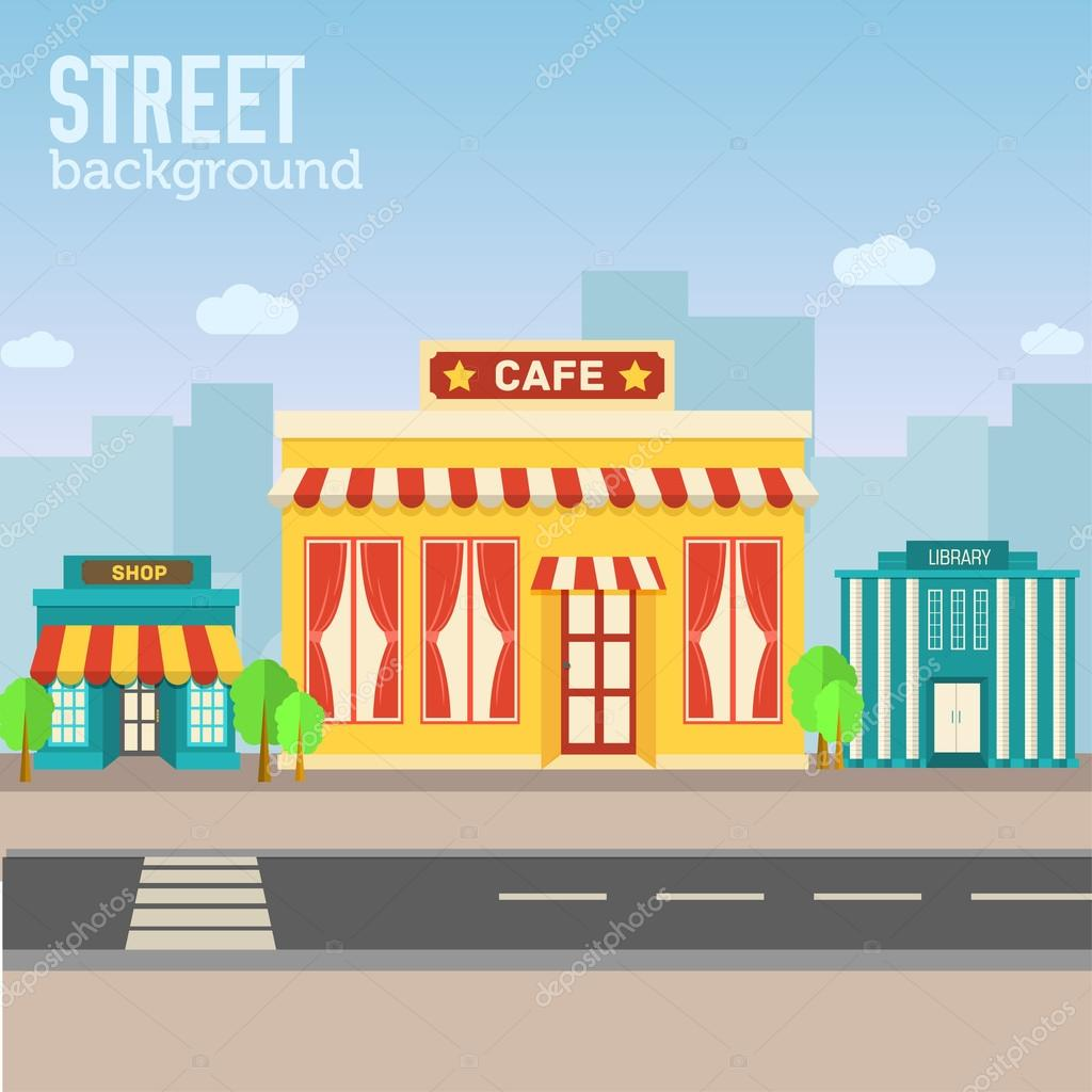cafe building in city space with road on flat syle background
