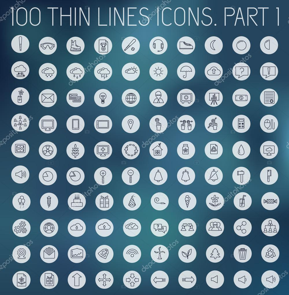part 1 of collection thin lines pictogram icon