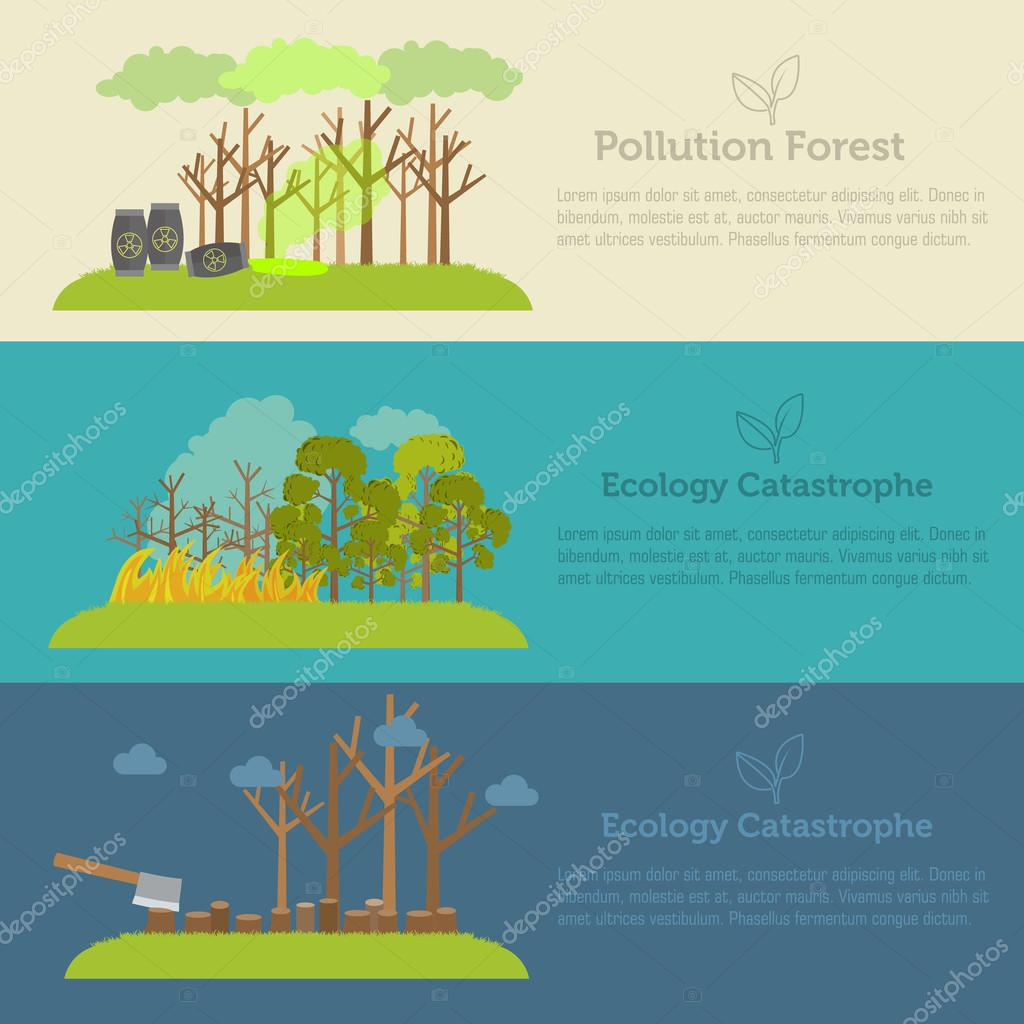 Nature issue deforestation, fire tree and pollution banner style