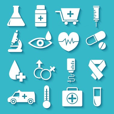 flat medical equipment set icons concept