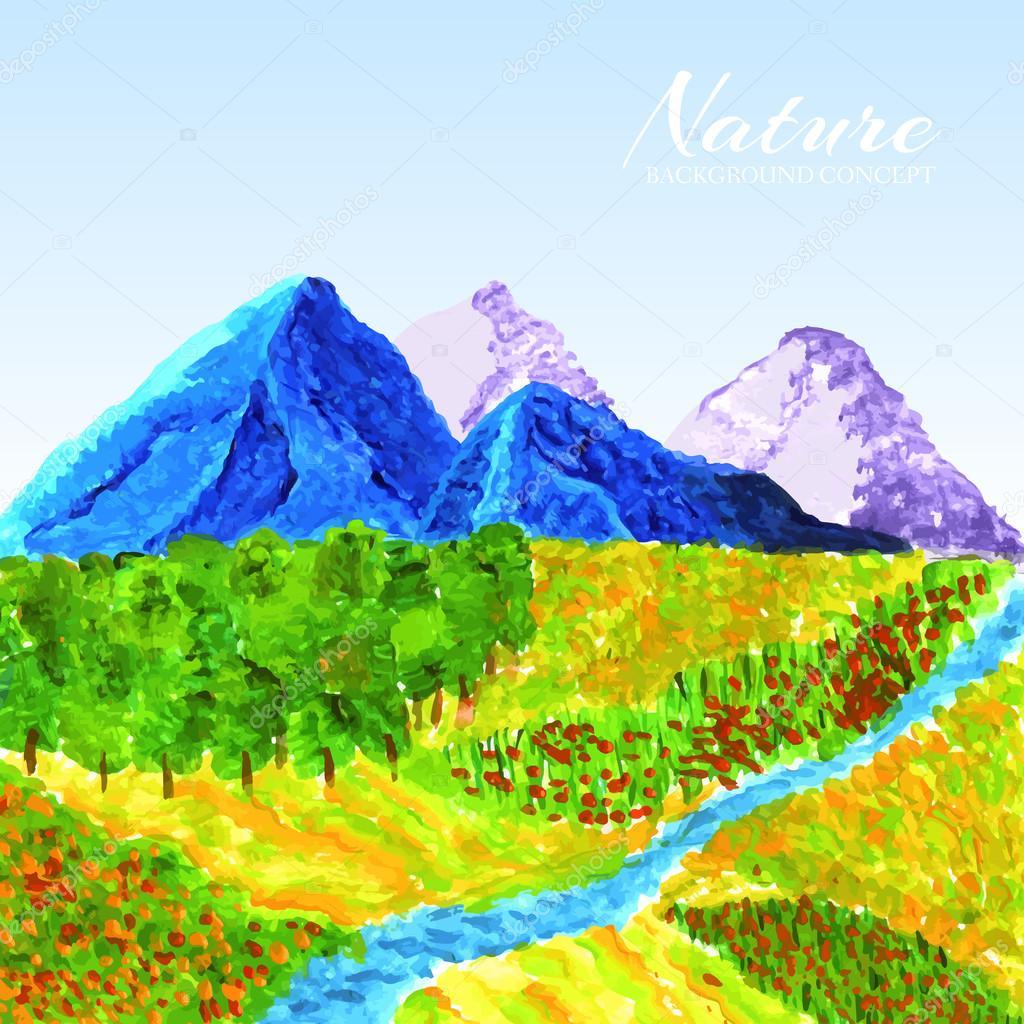 Landscape painted with oil paint background concept