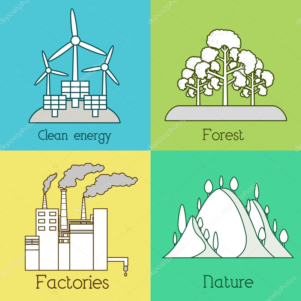 Flat set of ecology, environment, green clean energy and pollution backgrounds. Vector concept illustration. Thin lines outline design