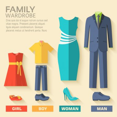 style fashion clothing for family icon set background